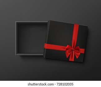 Opened black empty gift box with red ribbon and bow on dark background. Top view. Template for your presentation design, banner, brochure or poster. Vector illustration.