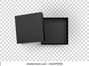 Opened black gift box isolated on transparent background. Clean realistic template for banner, presentation advertising design. Top view. Vector illustration.