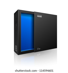 Opened Black Modern Software Package Box Blue Inside For DVD, CD Disk Or  Other Your