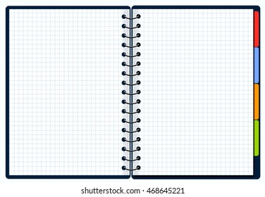 Opened blank Spiral Binded note book, Vector