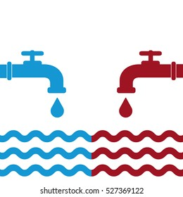 Opened blue and red water faucets with drop and water waves. Flat icon. Cold and hot water. Vector illustration.