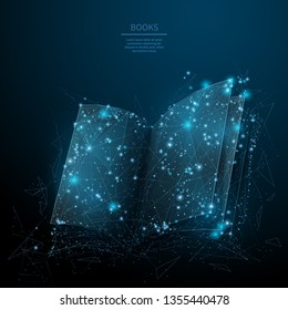 Opened book. Abstract wireframe vector illustration on dark blue. Learning and study concept. Low poly starry sky digital 3d modern image or background. Polygonal book sign.