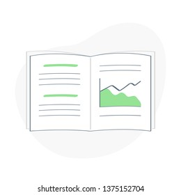 Opened book, exercise book, research report or notebook with graphs, charts, notes, data. Education or forecast, financial concept icon, flat outline vector concept on white background.