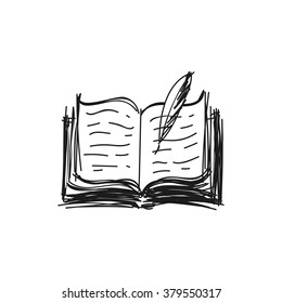 opened book with feather pen, poetry scribble doodle style rough sketch, isolated on white, vector graphic illustration.