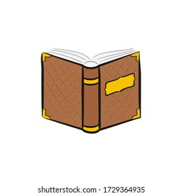 Opened book icon isolated on white background. A hand-drawn old shabby fairytale book with rivets. Ancient tome. Vector illustration.