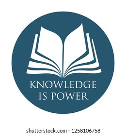 opened book pages in logo format - for bookstores, advertising, libraries or brochure cover - knowledge is power subtitles