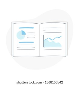 Opened book, research report or notebook with graphs, charts, notes, data. Education or financial concept icon, flat outline vector concept.