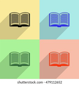 Opened book vector icon - colored set with long shadow