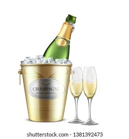 Opened bottle of champagne, white sparkling wine in restaurant, golden metal bucket with ice and two wineglasses filled with carbonated alcohol beverage realistic vector isolated on white background