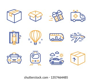 Opened box, Air balloon and Train icons simple set. Elevator, Parcel and Present delivery signs. Airplane, Ambulance car and Taxi symbols. Bus tour, Car travel and Package. Line opened box icon