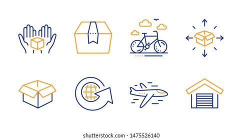 Opened box, Airplane and Package box line icons set. Parcel delivery, Bike rental and World globe signs. Parking garage symbol. Shipping parcel, Plane. Transportation set. Line opened box icon. Vector
