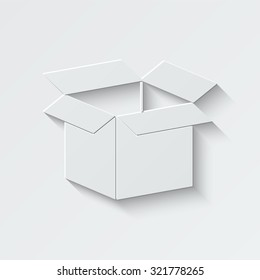opened box vector icon - paper illustration