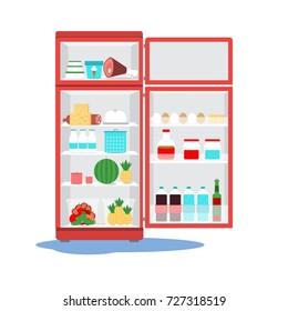 Opened  broken fridge with water  on floor. Calling the master. Vector illustration.