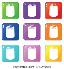 Opened bucket icons set 9 color collection isolated on white for any design