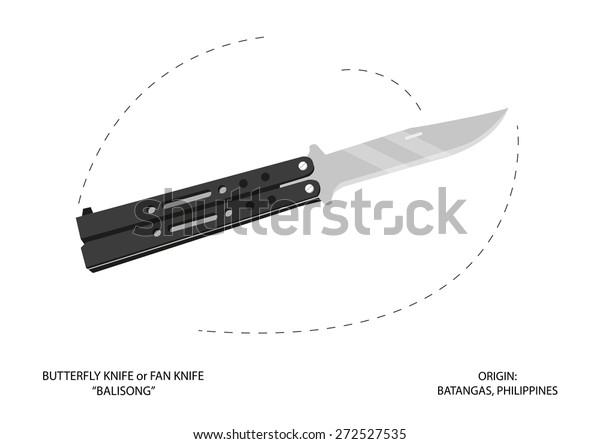 Opened Butterfly Knife Fan Knife Balisong Stock Vector