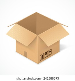 Opened cardboard box, isolated on white background. Package