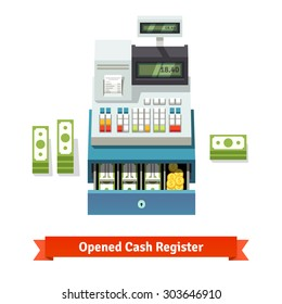 Opened cash register with printed receipt, paper money stacks and coins inside the box. Flat style vector illustration isolated on white background.
