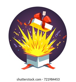 Opened celebration gift box with red ribbon bow, confetti explosion, magic light fireworks. Exploding holiday present & birthday congratulation card template. Flat style vector isolated illustration.