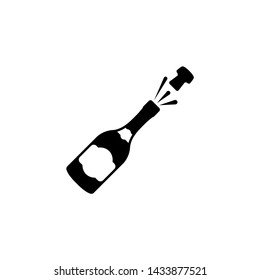 Opened Champagne Bottle, Cork Explosion. Flat Vector Icon illustration. Simple black symbol on white background. Opened Champagne Bottle, Explosion sign design template for web and mobile UI element