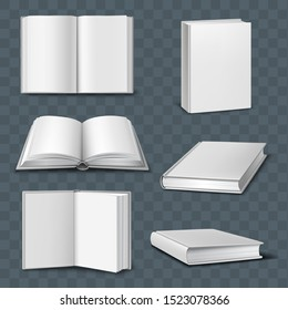 Opened and closed books mockups. Vector collection. Isolated on the transparent background.