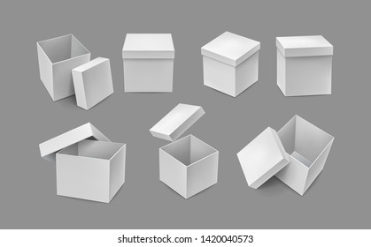 Opened and closed cardboard boxes mockups. Warehouse shipping and freight transportation. Realistic white paper boxes isolated on grey background. Blank packaging box vector illustration.
