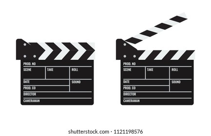 Opened and closed Cinema or film clapper. Illustrated vector.