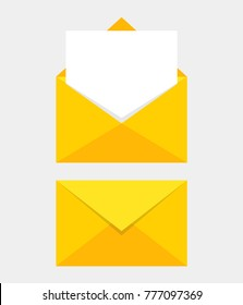 Opened and closed envelope with note paper card. Mail icon. Vector illustration.