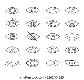 Opened and closed linear style eyes icons set. Sight and vision pictogram collection. Simple line art eye illustration isolated on white background