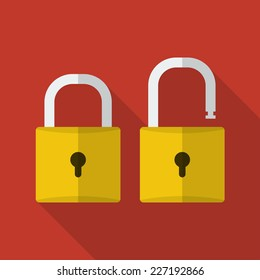 Opened and closed locks. Flat locks with long shadow