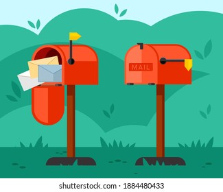 Opened and closed mailbox illustration. Red container with long leg overflowing with letters and empty waiting for correspondence on green lawn waiting for necessary information. Vector mailing.