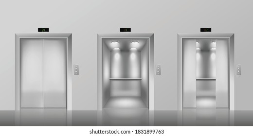 Opened and closed metallic elevator doors for office building and other constructions 3d mockup. Elevators template for reaching floors, realistic vector illustration
