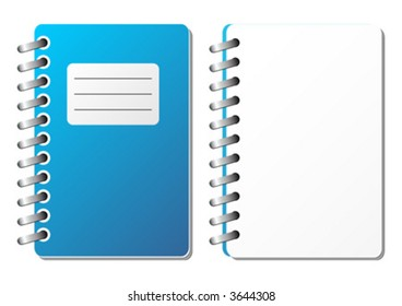 Opened and closed notebook with blank sheet over white background