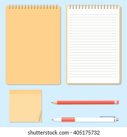 Opened and closed notepad with pencil, pen and sticky notes in top view. Ofiice supplies. Vector illustration