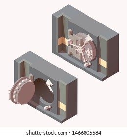 Opened and closed vault doors in bank repository. Finance security concept. Vector isometric illustration