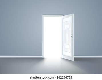 Opened door in the blue wall. Vector illustration