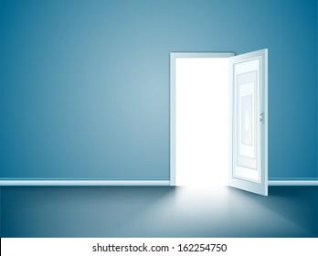 Opened door in the blue wall. Vector
