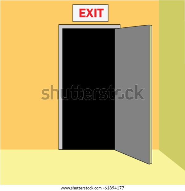 Opened door out, with sign EXIT above, in corridor of a building.