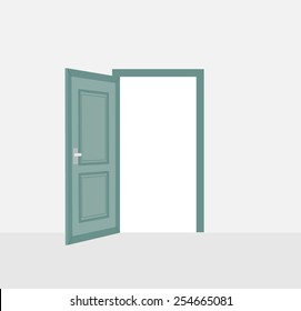 Opened door, vector illustration