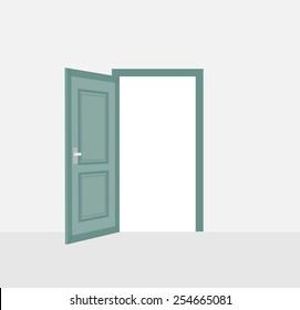 Opened door, vector illustration
