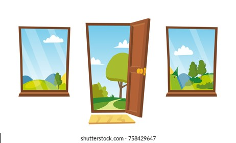 Opened Door And Windows Vector. Cartoon Flat Summer Landscape. Home Interior. Front View. Freedom Concept. Isolated Illustration.