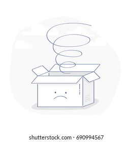 Opened empty box with cute frustrated face. Empty shopping cart, delivery box or parcel illustration concept. Flat line vector element for web and mobile design.