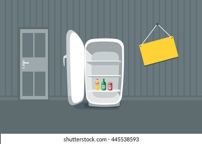 Opened empty broken fridge in cartoon style standing in front of the wall in the room with message board hanging on the wall. Drink bottles beverages are inside the fridge.