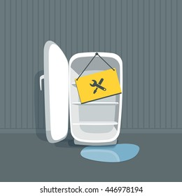 Opened empty broken fridge with water flowing out. Freezer is standing in front of the wall in the room. Sign board with maintenance icon hanging on the fridge. Vector illustration in cartoon style.