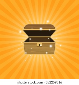 opened empty wooden treasure chest with glitter in flat icon design on orange background (vector)