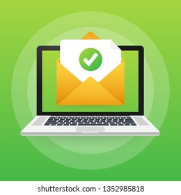 Opened envelope and document with green check mark. Verification email. Vector stock illustration.