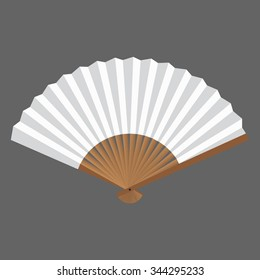 Opened fan white and wooden in vector.