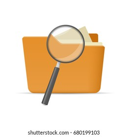 Opened file folder and magnifying glass, concept of search flat vector illustration