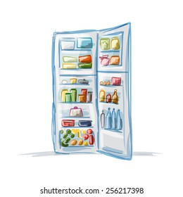 Opened fridge full of food, sketch for your design. Vector illustration
