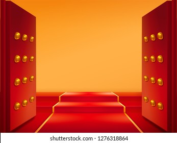 Opened gates with gold and red carpet on stairs. Doors and tapis at eastern castle entrance or chinese temple, japan medieval building. Buddhism pavilion entry. Exit and welcome symbol, asian element