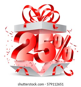 Opened gift box with 25 percent discount gift